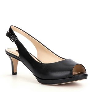NWOT Alex Marie Leather Sling Back Peep Toe Pumps